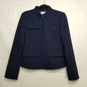 Loft military style jacket navy size 6 button up